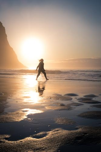 beach, polar sea, sunset, reflection, young woman Athletic Harmonious Well-being Contentment Senses Relaxation Summer vacation Sun Beach Ocean Young woman
