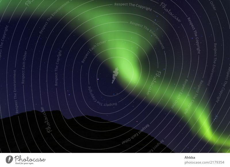 Green aurora before starry sky and mountain silhouette, Lofoten Vacation & Travel Adventure Nature Sky Cloudless sky Night sky Stars Aurora Borealis Mountain