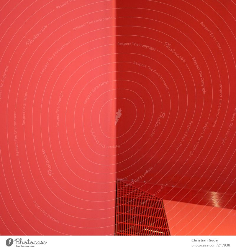 Red corner Building Architecture Wall (barrier) Wall (building) Ventilation shaft Vertical Graphic Grating Metal grid Pink Ground Rectangle Triangle