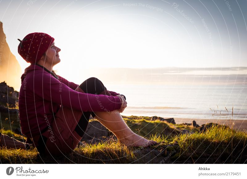 Young woman relaxing by the sea Life Harmonious Well-being Contentment Relaxation Calm Meditation Vacation & Travel Summer vacation Youth (Young adults)