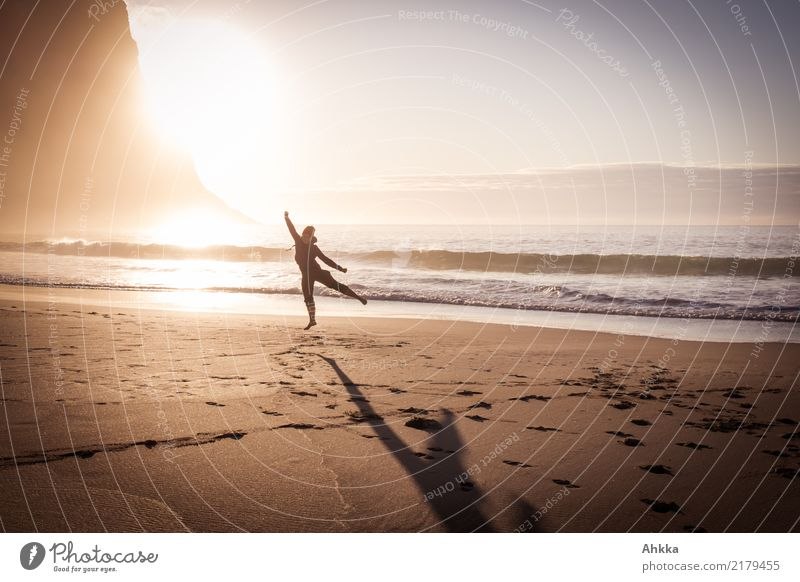 Fun and sports on the North Sea beach Healthy Athletic Fitness Life Well-being Contentment Senses Adventure Summer vacation Sun Beach Ocean Waves Young woman