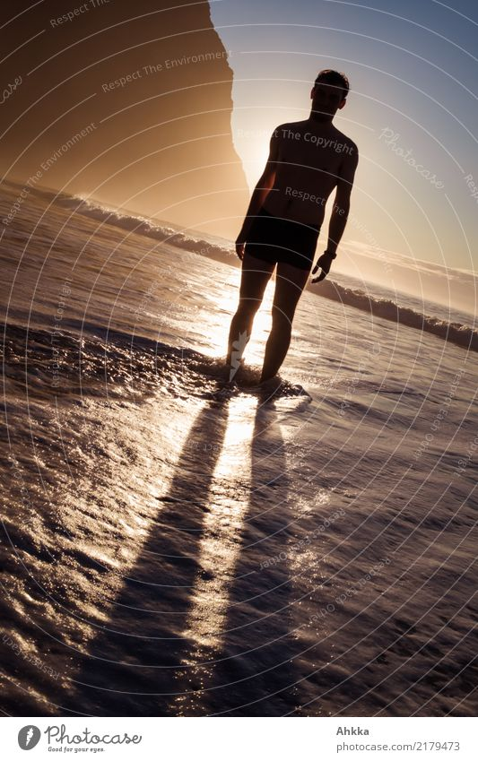 shadow man Well-being Contentment Senses Relaxation Calm Meditation Vacation & Travel Adventure Summer vacation Beach Ocean Young man Youth (Young adults)
