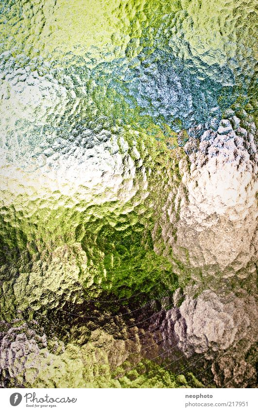 Nature Green Blue Red Abstract Pattern Distorted Refraction Copy Space Pane Experimental