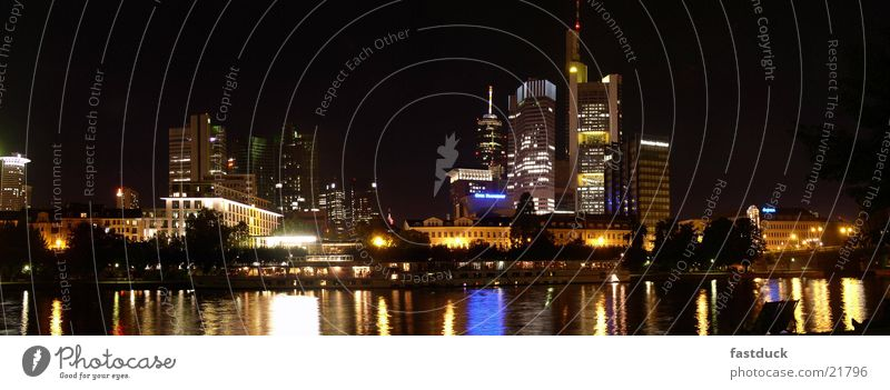 Lighthouses (Panorama) Frankfurt Town High-rise Night Long exposure Main Autumn Architecture skyscrapers Water River