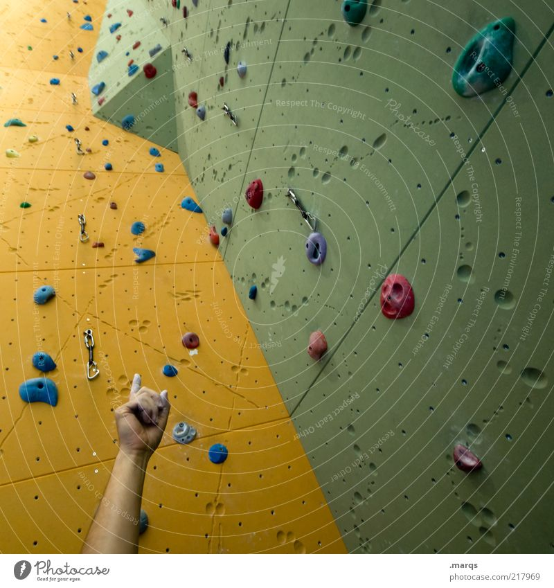 challenge Leisure and hobbies Sports Sporting Complex Arm Climbing wall Sharp-edged Tall Yellow Green Perspective Challenging Colour photo Interior shot Pattern
