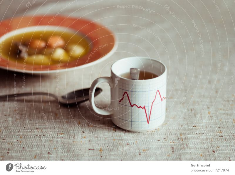 You make my heart skip a beat Food Meat Vegetable Soup Stew Nutrition Lunch Hot drink Tea Plate Cup Spoon Retro Soup plate Chicken soup Meal Colour photo