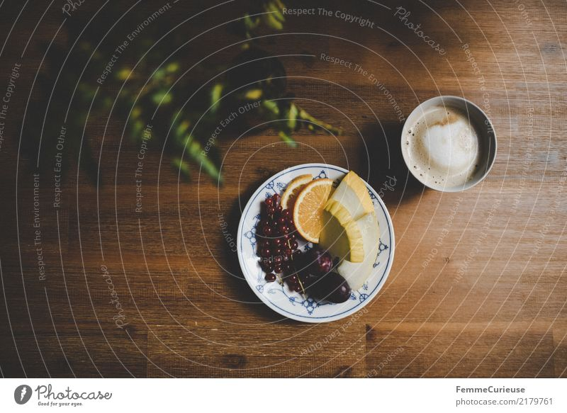 Home_20 Food Nutrition Breakfast To have a coffee Organic produce Vegetarian diet Diet Beverage Healthy Fruit Coffee cup Cappuccino Foliage plant