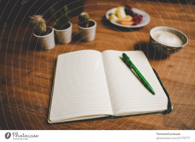 Home_24 Lifestyle Living or residing Wooden table Living room Notebook Ballpoint pen Tabletop Cactus Cappuccino fruit plate Fruit Write Document Lined Cozy