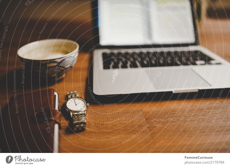 Home_34 Beverage Home Office To have a coffee Coffee cup Cappuccino Cellphone Leather Wristwatch High-grade steel Silver Notebook Work and employment
