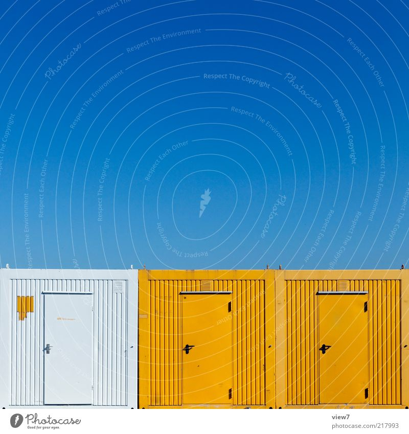 Sky White Blue Yellow Colour Line Metal Door Arrangement Esthetic New Authentic Construction site Good Stripe Steel