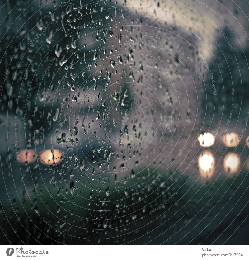 City Blue Black Cold Gray Sadness Car Rain Road traffic Wet Drops of water Gloomy Car Window Floodlight Car headlights Copy Space