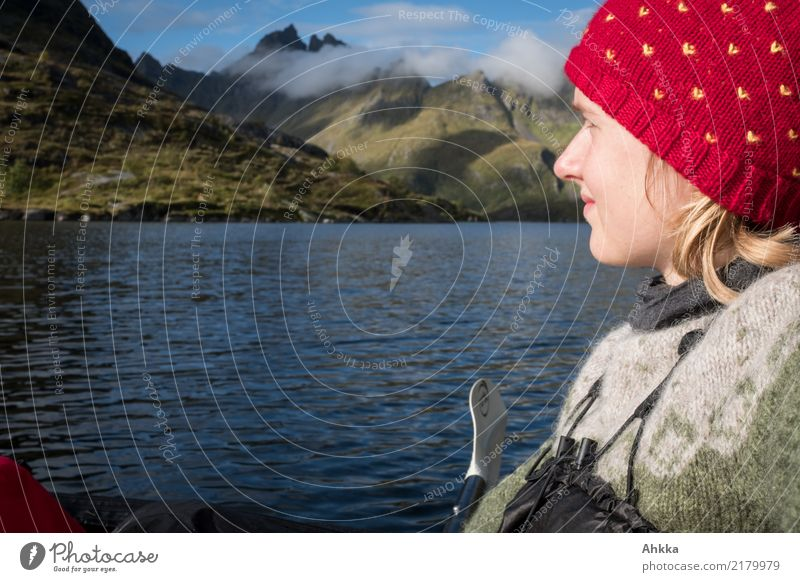 Adventure, Young woman in a canoe in front of Lofotenpanorma Far-off places Freedom Aquatics Youth (Young adults) Nature Water Mountain Lofotes Fjord Breathe