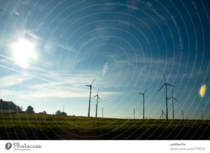 Nature Sun Summer Far-off places Meadow Landscape Field Environment Industry Energy industry Technology Wind energy plant Beautiful weather Blue sky Cheap Rotor