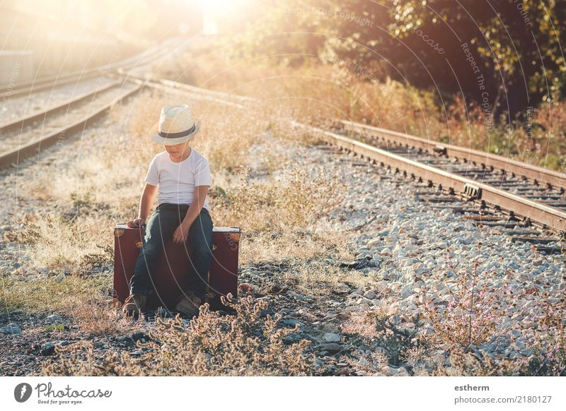 child on train tracks Child Human being Vacation & Travel Loneliness Lifestyle Lanes & trails Boy (child) Freedom Trip Masculine Transport Infancy Sit Adventure