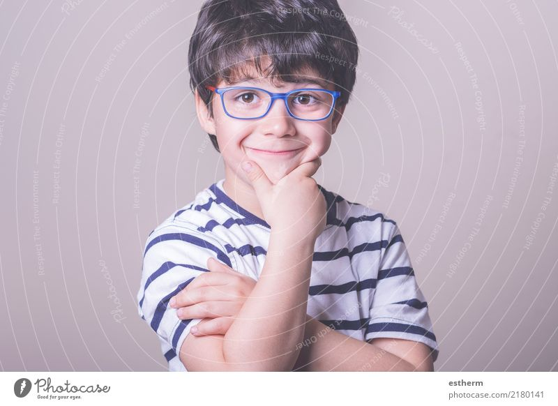 smiling boy with glasses Lifestyle Joy Health care Wellness Human being Masculine Child Toddler Boy (child) Infancy 1 3 - 8 years Eyeglasses Fitness Smiling