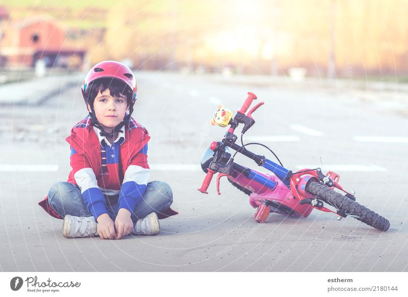 boy sitting on the floor with bike Child Human being Vacation & Travel Town Lifestyle Healthy Emotions Sports Boy (child) Leisure and hobbies Masculine Infancy