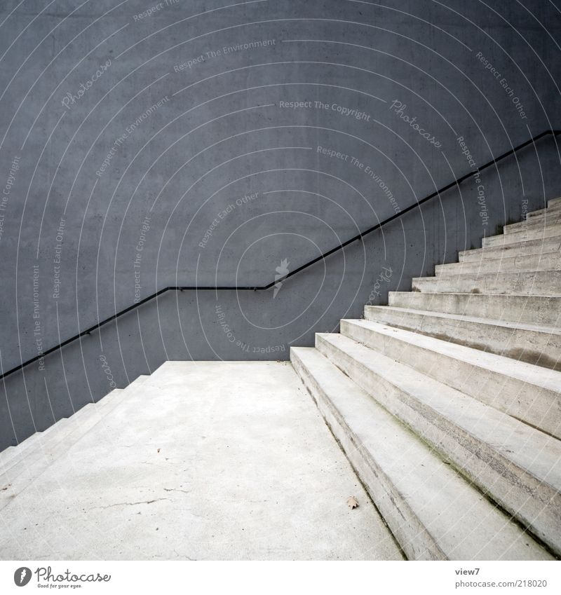 Beautiful Wall (building) Gray Stone Wall (barrier) Line Design Elegant Concrete Facade Stairs Modern Esthetic New Authentic Simple