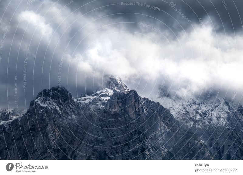 dramatic storm clouds over mountain ridge Karwendel Nature Vacation & Travel Landscape Clouds Mountain Autumn Sports Snow Germany Stone Rock Wild Fog