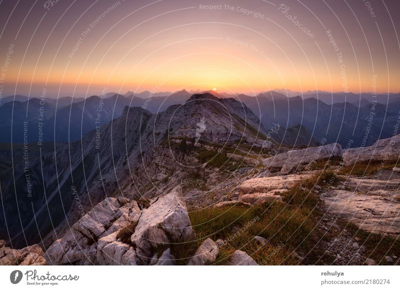 sunrise from Grosse Daumen top in Alps Sky Nature Vacation & Travel Sun Landscape Red Mountain Warmth Germany Stone Rock Wild Vantage point Europe