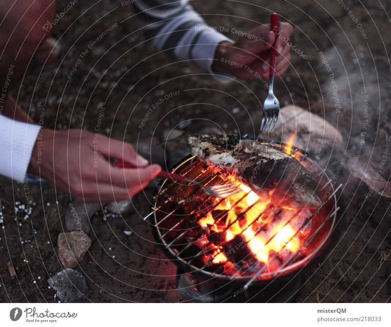 Hand Summer Life Leisure and hobbies Masculine Fresh Fire Fish Cooking & Baking Appetite Delicious Camping Barbecue (event) Summer vacation Snapshot Attempt