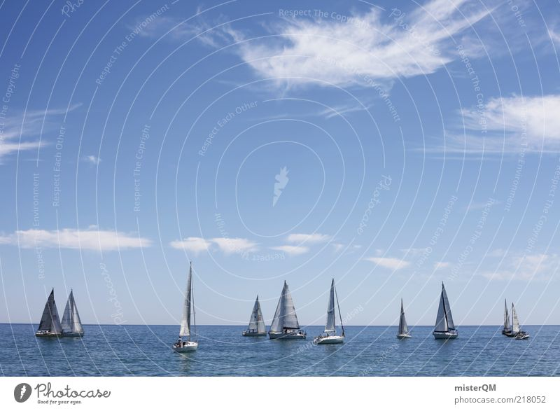 Regatta I Sports Aquatics Sailing Esthetic Ocean Strait Beautiful weather Vacation & Travel Vacation mood Vacation photo Blue Blue sky Clouds Clouds in the sky