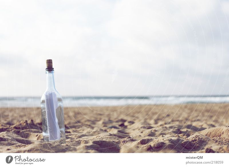 Dear Ocean. Art Esthetic Symbols and metaphors Message in a bottle Mail Information Beach Sandy beach Air Old fashioned Idyll Waves Means of communication Cork