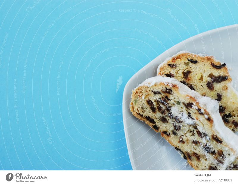 Stollen. Dessert Candy Esthetic Christmas & Advent Blue Nutrition Raisins Cake December Confectioner`s sugar Baked goods Dough Tradition To have a coffee