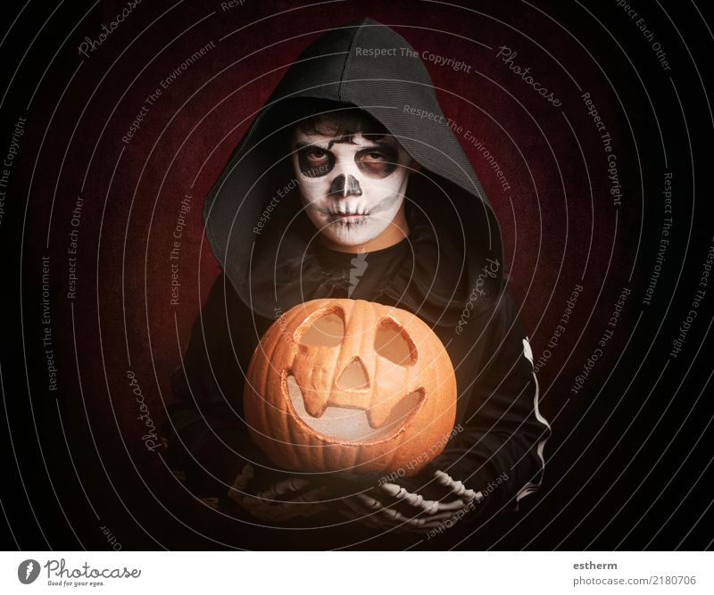 Boy in Halloween Child Human being Dark Religion and faith Emotions Movement Death Party Feasts & Celebrations Fear Masculine Infancy Threat Fear of death
