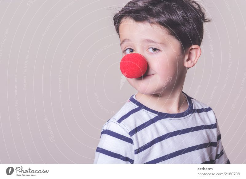 Child with clown nose Joy Party Event Feasts & Celebrations Carnival Human being Masculine Toddler Boy (child) Infancy 1 3 - 8 years Smiling Laughter