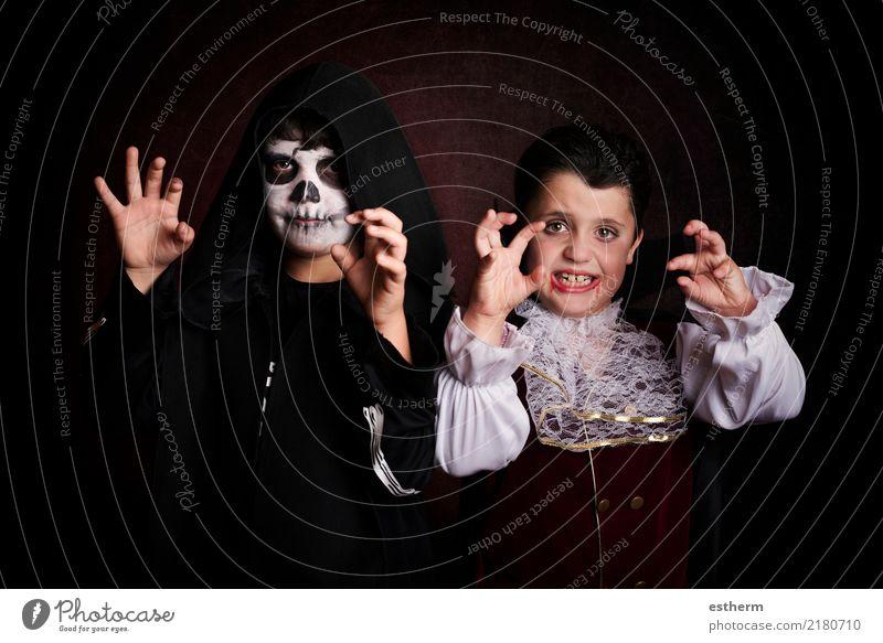children in halloween Child Human being Joy Dark Lifestyle Boy (child) Death Party Feasts & Celebrations Friendship Fear Masculine Infancy Smiling Fitness Event