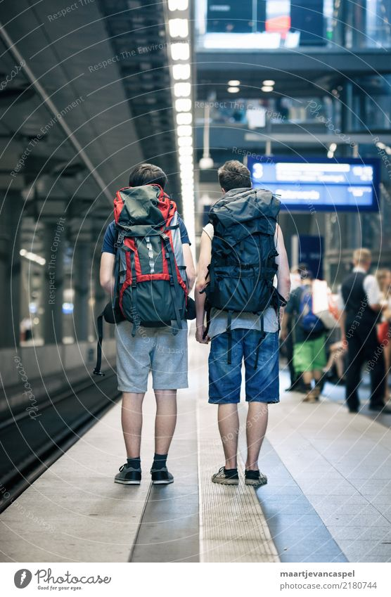 Two teenagers with backpacks at the train station in Berlin Human being Masculine Boy (child) Young man Youth (Young adults) Life 2 13 - 18 years Town