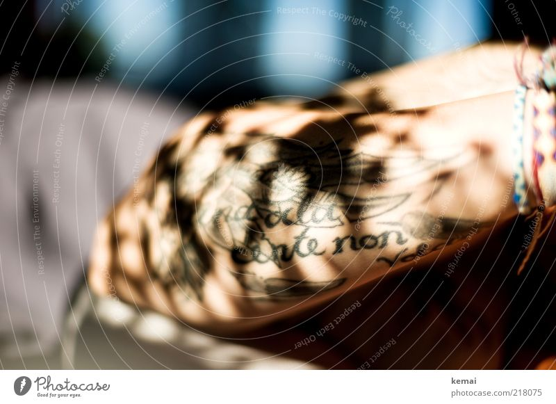 Shadows tattooed into the skin Style Feminine Woman Adults Skin Arm 1 Human being Tattoo Bright Shadow play Bracelet Tattooed Underarm Colour photo