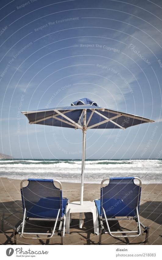 rush to relax Vacation & Travel Tourism Summer Summer vacation Beach Ocean Island Waves Sunshade Deckchair Couch Sky Clouds Crete Shadow Colour photo
