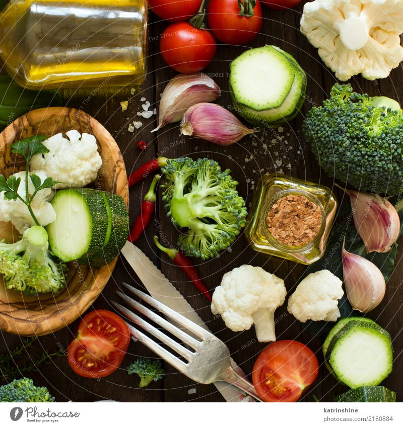 Fresh vegetables on a wooden table top view Vegetable Herbs and spices Eating Vegetarian diet Diet Bottle Fork Spoon Summer Table Group Autumn Leaf Collection