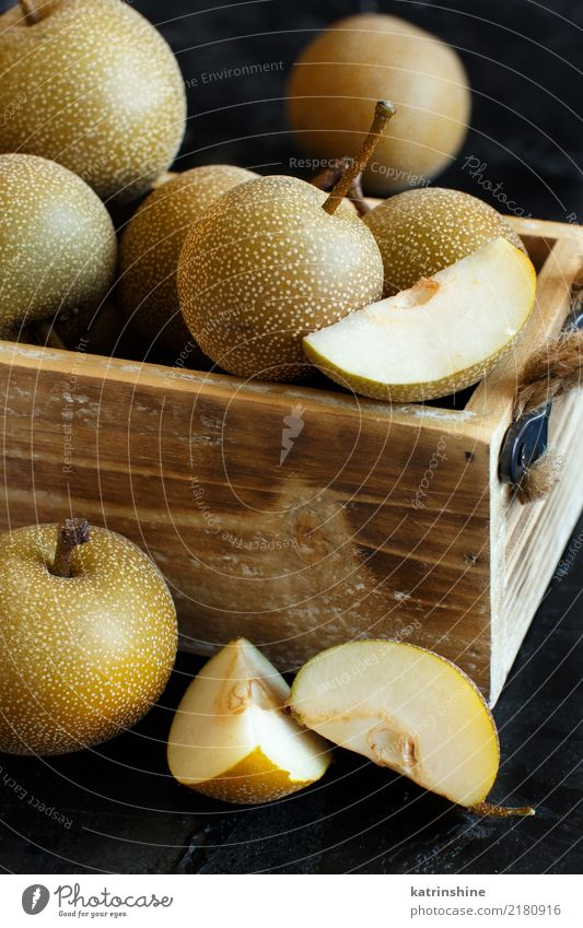 Nashi Pears (apple pears or asian pears) in a box Old Dark Yellow Fruit Retro Fresh Delicious Apple Dessert Vegetarian diet Rustic Organic Tasty