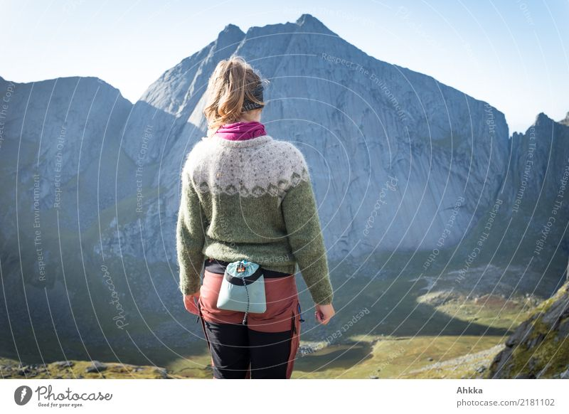 Young woman, Iceland sweater, Mountaineering, Norway, back view Athletic Adventure Far-off places Freedom Climbing Youth (Young adults) Nature Peak Canyon