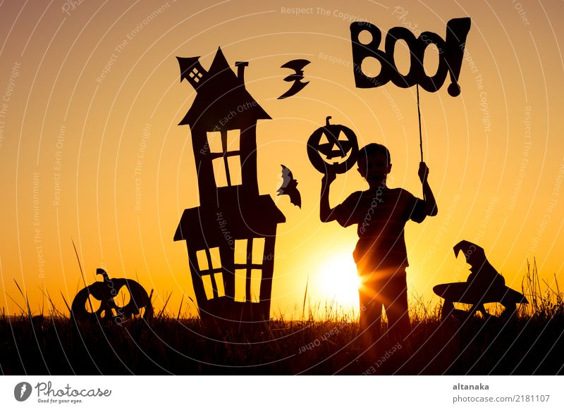 Happy little boy playing outdoors Lifestyle Joy Playing House (Residential Structure) Feasts & Celebrations Hallowe'en Child Human being Boy (child)