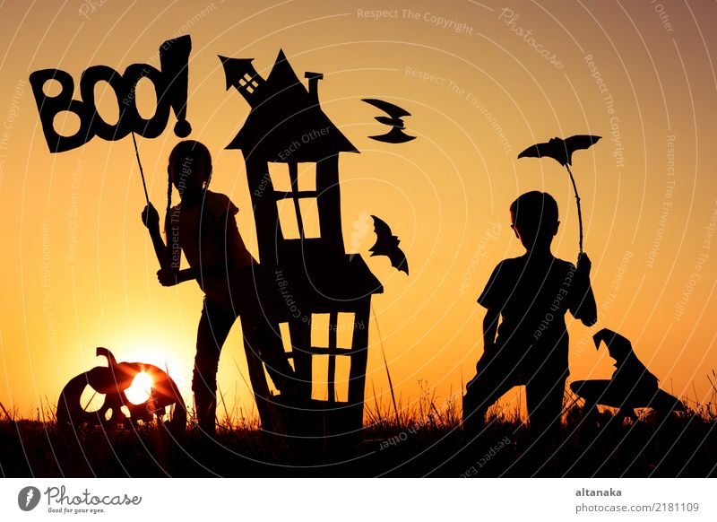 Happy brother and sister playing outdoors Child Human being Hand House (Residential Structure) Joy Black Lifestyle Autumn Boy (child) Family & Relations Small