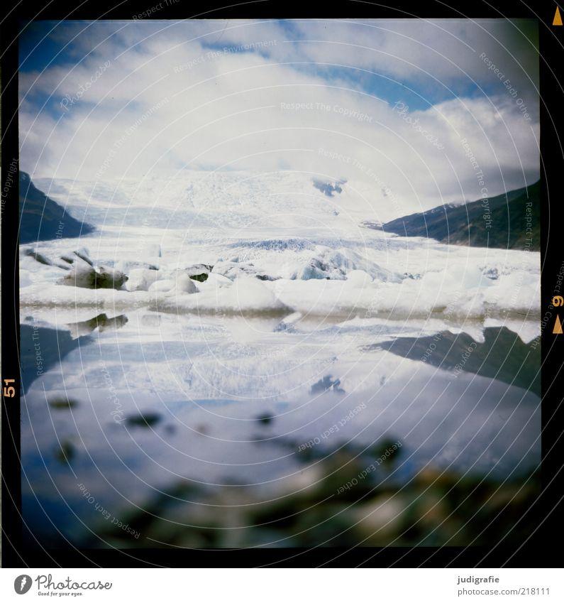 Iceland Environment Nature Landscape Water Sky Clouds Climate Climate change Frost Glacier Lake Fjallsárlón Vatnajökull glacier Cold Natural Wild Moody Idyll