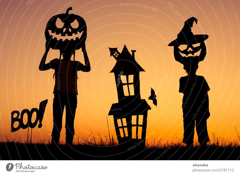 Happy brother and sister playing outdoors Lifestyle Joy Playing House (Residential Structure) Feasts & Celebrations Hallowe'en Child Human being Boy (child)