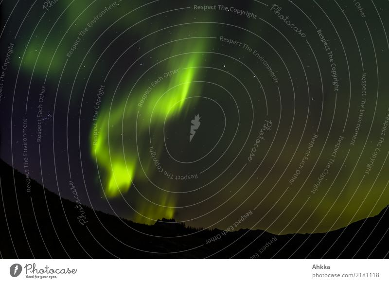 Northern lights with small car Nature Elements Night sky Stars Climate Climate change Aurora Borealis Mountain Norway Exceptional Dark Exotic Fantastic Gigantic
