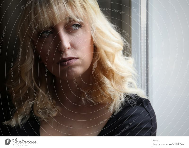 . Room Feminine Woman Adults 1 Human being Window Shirt Piercing Blonde Long-haired Bangs Observe Think Looking Dark Beautiful Cool (slang) Optimism Willpower