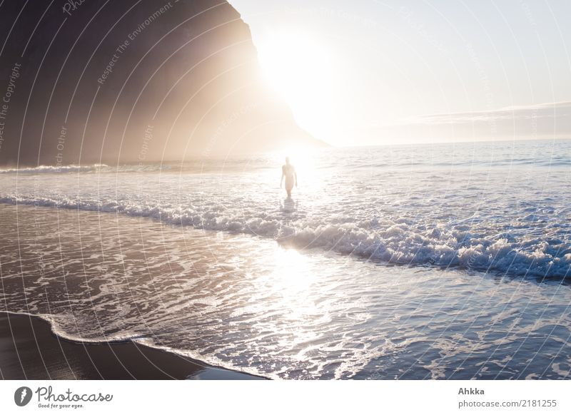 Man in the (light)sea Harmonious Senses Relaxation Calm Summer vacation Sun Sunbathing Beach Ocean Waves Young man Youth (Young adults) 1 Human being