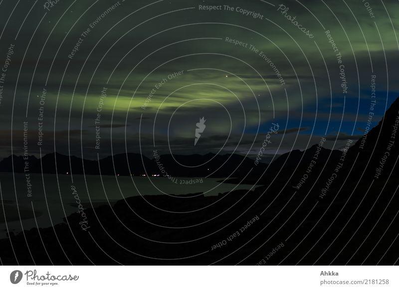 Aurora borealis over Lofoten Clouds Night sky Aurora Borealis Lofotes Illuminate Exceptional Exotic Moody Uniqueness Discover Experience Mysterious Horizon
