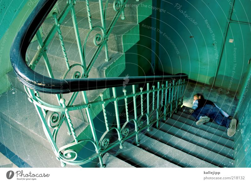 Human being Man Green House (Residential Structure) Adults Death Life Lie Stairs Masculine Handrail To fall End Sudden fall Hallway Accident