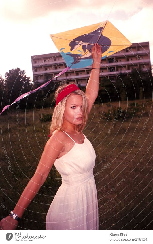 AND LET YOUR KITES RISE :: Young woman Youth (Young adults) Dragon Prefab construction Dolphin Dress Clock Headband Morning Back-light climb the kite