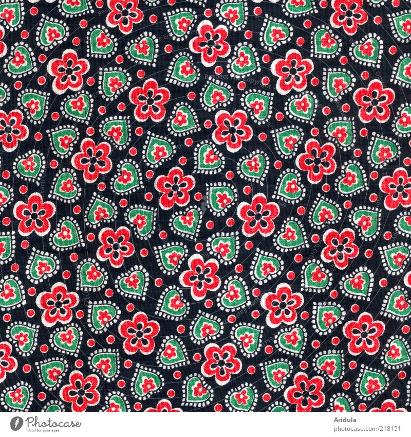 Fabric_pattern_flowers/hearts Fashion Cloth Textiles Heart Design Black Red Green Point Cute Structures and shapes Pattern Cloth pattern Heart-shaped