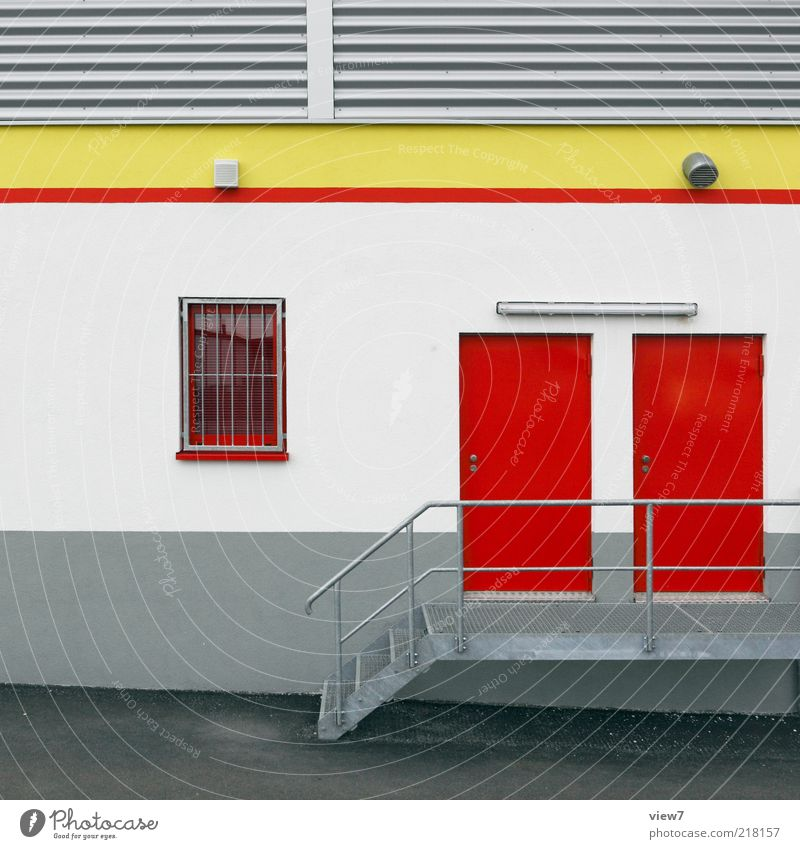personnel entrance Trade House (Residential Structure) Wall (barrier) Wall (building) Stairs Facade Window Door Metal Line Stripe Authentic Simple Modern New