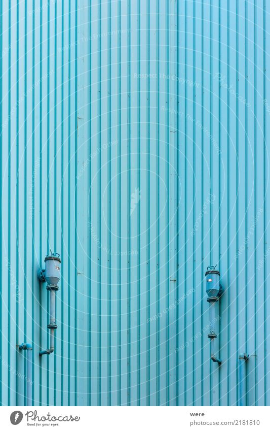 Wall cladding made of blue profiled sheets House (Residential Structure) Technology Deserted Industrial plant Factory Building Architecture Facade Modern Clean