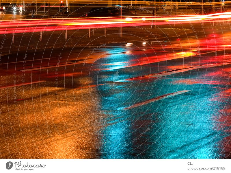 Through the night Deserted Transport Means of transport Traffic infrastructure Road traffic Motoring Street Crossroads Lanes & trails Traffic light Vehicle Car